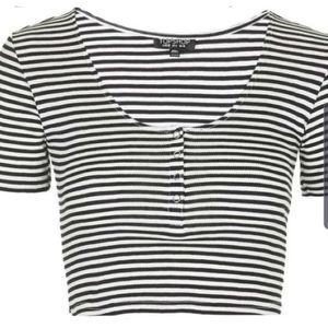 Black and white Stripes Topshop Sexy Crop Top